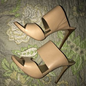 Nude Leather Heel Mules